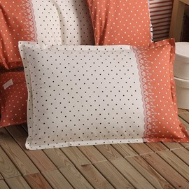 Super Soft White and Orange Little Dots Pattern Bed Pillowcase