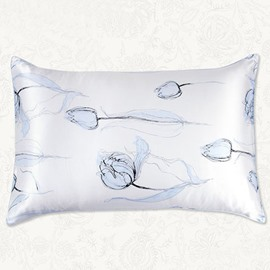 Concise Style Fancy Blue one Piece Tulip Flowing Pattern Mulberry Silk Pillow Case
