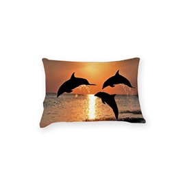 Strong and Vigorous Dolphin Print 3D Two-Piece Pillowcases