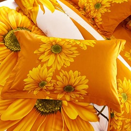 Big Sunflowers Printed One Piece Cotton Pillowcase