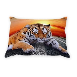 The 3D Lying Tiger Printed One Pair Cotton Pillowcases