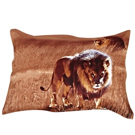 The King of Grassland One Pair Cotton Pillowcases