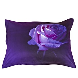 Purple Rose Pattern 2-Piece Cotton Pillowcases