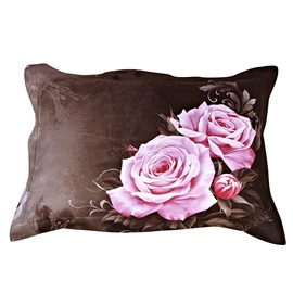 Lifelike Big Pink Roses with Brown Background One Pair Pillowcases