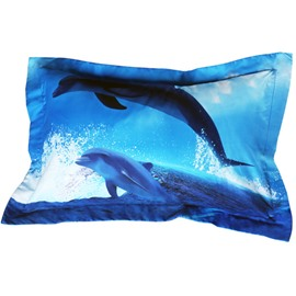 Vivid Dolphin Print Blue 2-Piece Polyester Pillow Cases