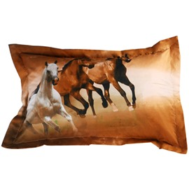 Vivid 3D Running Horse Printed 2-Piece Pillow Cases