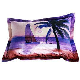 Romantic Sailing Ship and Palm Print 2-Piece Pillow Cases