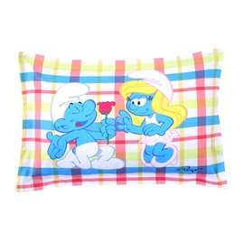 Courting Smurf Smurfette Valentine Printed Colorful Grid One Piece Bed Pillowcases