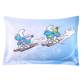 The Smurfs Winter Skiing Printed One Piece Bed Pillowcase
