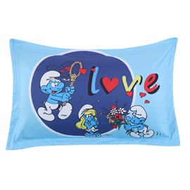 Enamored Smurf Sending Red Flower Bouquet to Smurfette One Piece Bed Pillowcase