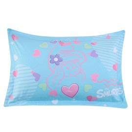 The Smurfs Heart Shape and Flowers Printed One Piece Bed PIllowcase