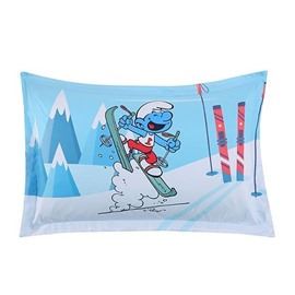 Laughing Smurf Skiing Winter Snow One Piece Bed Pillowcase