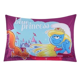 Princess Smurfette with Castle Butterfly Printed One Piece Bed Pillowcase