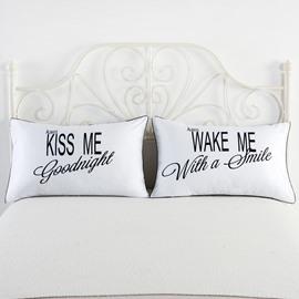 One Pair Kiss Me and Wake Me Printed Couple Pillowcase