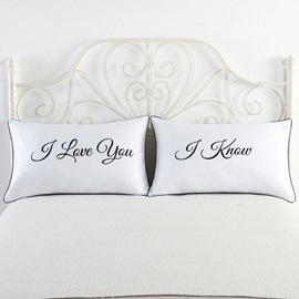 I Love You Love Theme Printed Couple Pillowcase for Valentine's Gifts