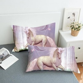 Pink Unicorn By The Waterfall Reactive Printing 2-Piece Polyester Pillowcase