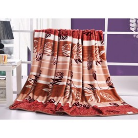Flying Brown Leaves and Stripes Printed Flannel Sheet