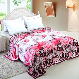 Fancy Bright Pink Lotus Pattern Flower Blanket