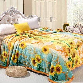 Bright Sunflowers Print Thick Cozy Polyester Blanket