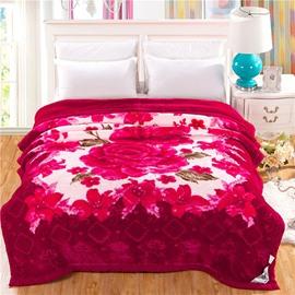 Top Class Gorgeous Fiery Red Flower Printing Raschel Blanket