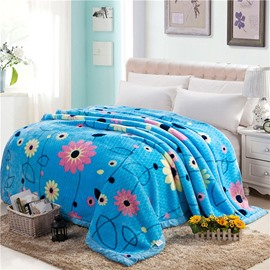 Graceful Pastoral Style Flowers Design Blue Raschel Blanket
