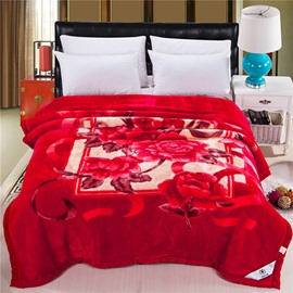 Fiery Red Flowers Printing Fluffy Raschel Blanket