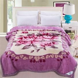 Gorgeous Elegant Floral Design Purple Raschel Blanket