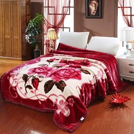 Red Floral Design Classy Well-Made Raschel Bedding Blanket