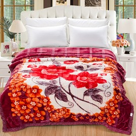 Chic Design Red Magnolia Print Raschel Blanket
