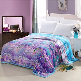 Purple Flower Blooming Printed Flannel Bed Blankets