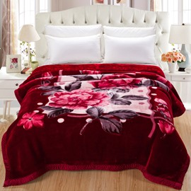 Peonies Blooming Printed Black Red Super Soft Flannel Thick Bed Blankets
