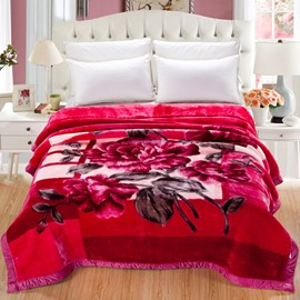 Artful Peonies Blooming and Leaves Printed Super Soft Flannel Thick Bed Blankets