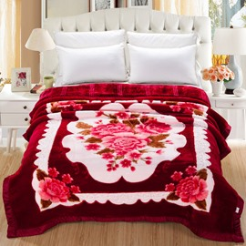 Charming Peonies Blossom Printed Burgundy Flannel Thick Bed Blankets