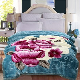 Floral Peonies Blooming Printed Acid Blue Plush Flannel Fleece Bed Blanket