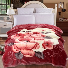 Orange Peonies Blooming Printed Plush Flannel Fleece Bed Blanket