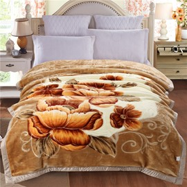 Yellow Peonies Blooming Printed Camel Plush Flannel Fleece Bed Blanket