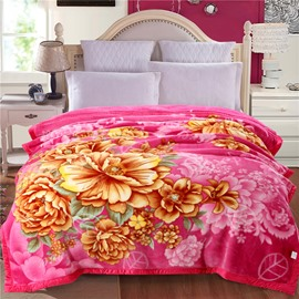 Yellow Peonies Blooming Pattern Pink Plush Flannel Fleece Bed Blankets