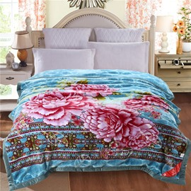 Pink Peonies Blooming Printed Sky Blue Plush Flannel Fleece Bed Blankets