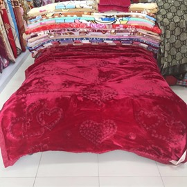 Flowers and Heart Shape Design Rose Red Embroidery Flannel Fleece Bed Blankets