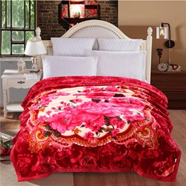 Peonies Flowers Blooming Printed Plush Flannel Fleece Bed Blankets