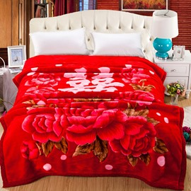 Roses Flowers Blooming Printed Wedding Style Flannel Fleece Bed Blankets