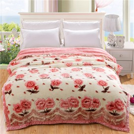 Sweet Pink Flowers Printed Thick Flannel Fleece Bed Blankets