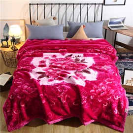 Rose Red Floral and Crown Printing Flannel Fleece Bed Blanket