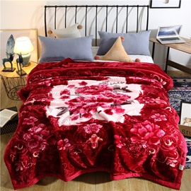 Elegant Flower Printing Red Flannel Fleece Bed Blanket