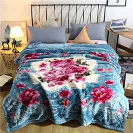 Red Flower Printing Lake Blue Flannel Fleece Bed Blanket