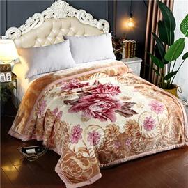 Blooming Flower Printing Brown Flannel Fleece Bed Blanket