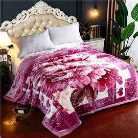 Romantic Flower Printing Flannel Fleece Soft Bed Blanket