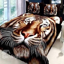 Stunning Tiger Pirnted Mink Cashmere-Like Material Thick Bed Blanket