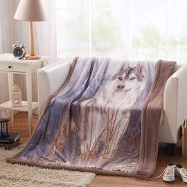 Wolf in Grass Print Deep Khaki Flannel Blanket