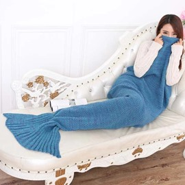 Lovely Design Knitted Blue Mermaid Tail Blanket